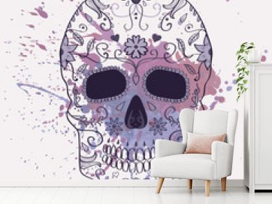 Vector illustration of Day of the Dead skull with ornament