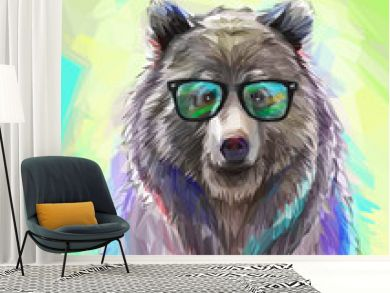 Colorful bear illustration. Bright poster