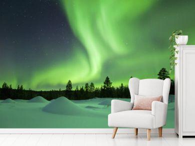 Aurora borealis over snowy winter landscape, Finnish Lapland