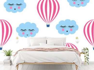 Pink hot air balloons with smiling sleeping clouds seamless pattern. Cute baby shower vector background. Child drawing style sky.