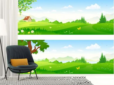 Cartoon landscape banners