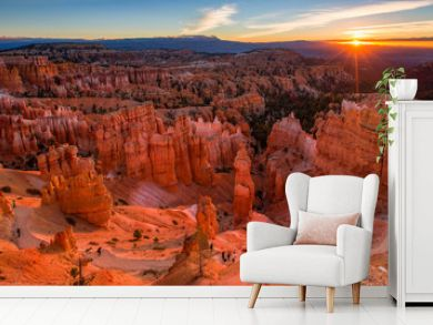 Scenic view of stunning red sandstone in Bryce Canyon National P
