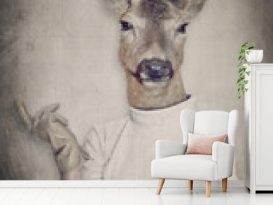 Deer in clothes. Concept graphic in vintage style.