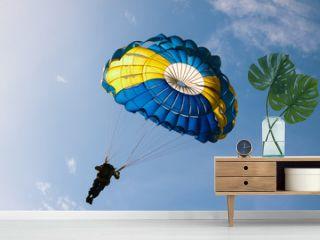 Parachute on background blue sky.