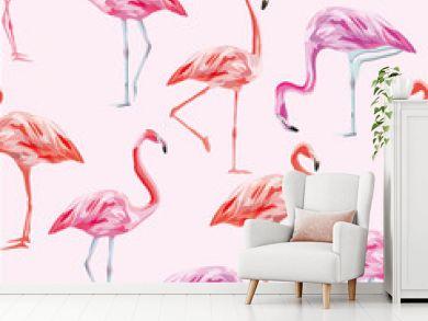 Flamingo seamless pattern pink background