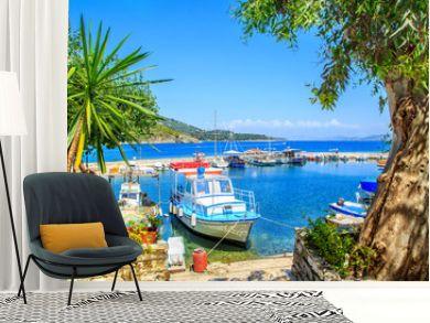 Boats in port Kouloura in Corfu, Greece