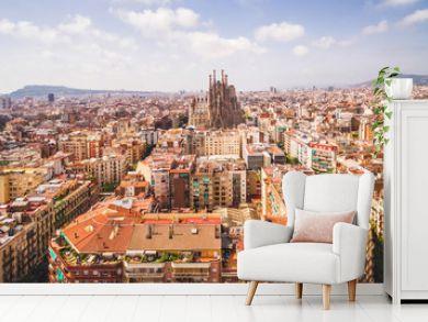 Barcelona city and La Sagrada Familia cathedral aerial view, Spain.