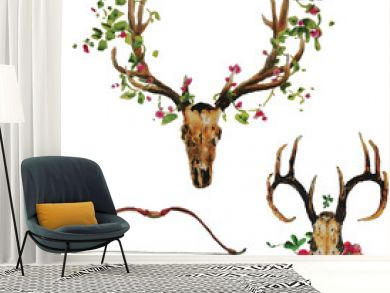 Bohemian deer skull with flowers, arrow and bow set