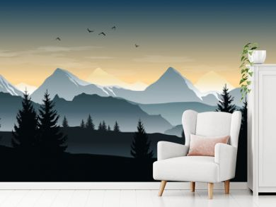 Vector landscape with silhouettes of trees, hills and misty mountains and morning or evening sky