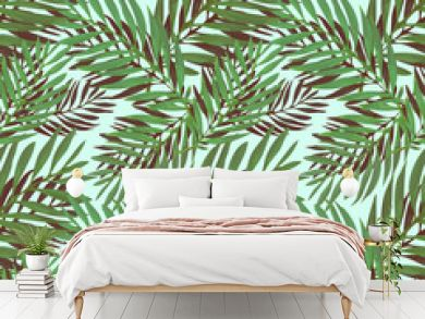 Tropical palm leaves pattern. Trendy print design with abstract jungle foliage. Exotic seamless background. Vector illustration
