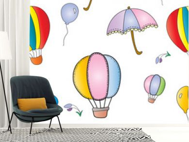 Colorful seamless pattern of air balloon, pastel color umbrella, and little flowers in the sky and wind, cute vector and illustration concept