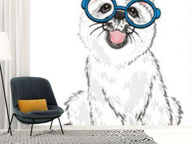 Husky, White Husky, Dog, Puppy, Friend, Pet, Illustration, White Dog, Furry Dog, White Puppy, Husky Puppy, year of dog, blue, round, glasses