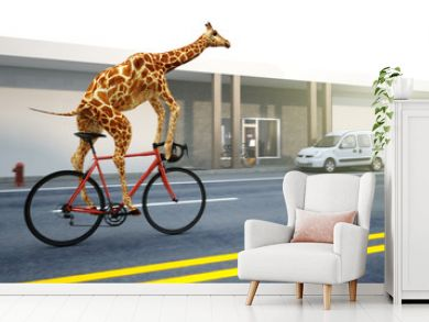 Giraffe fährt Fahrrad