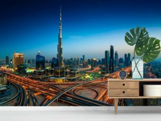 Amazing night dubai downtown skyline, Dubai, United Arab Emirates
