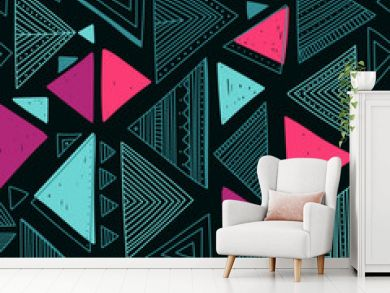 Vector seamless pattern with ethnic tribal boho triangles