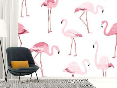 Pink red exotic flamingo birds species seamless pattern. Detailed feather drawing. Standing moving leaning postures. Isolated on clean white background. Africa America continents fauna.