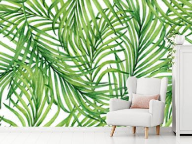 Watercolor painting coconut,palm leaf,green leave seamless pattern background.Watercolor hand drawn illustration tropical exotic leaf prints for wallpaper,textile Hawaii aloha jungle style pattern.