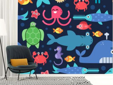 Seamless pattern of sea underwater life. Vector flat illustrations