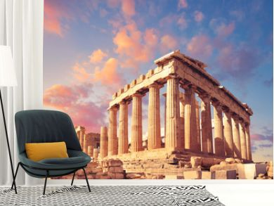 Parthenon on the Acropolis in Athens, Greece, on a sunset