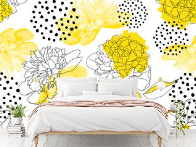 Seamless vector pattern with yellow peonies and geometric shapes on a white background. Trendy floral pattern in a halftone style.