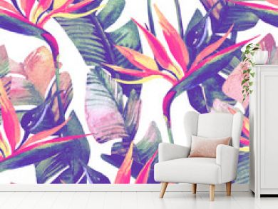 Exotic flowers, leaves in retro vanilla colors on pastel background.