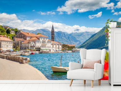 Historic town of Perast at Bay of Kotor in summer, Montenegro
