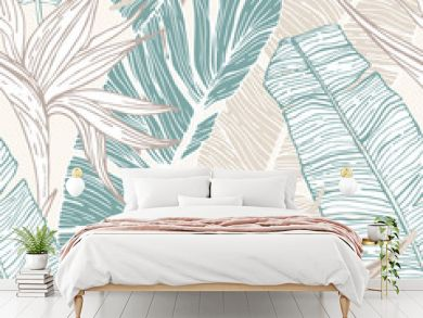 Hand drawn abstract tropical summer background : palm tree and banana leaves, bird-in-paradise flower in silhouette, line art