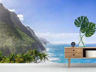 Scenic ocean paradise panorama, Na Pali Coast State Park on the island Kauai, Hawaii