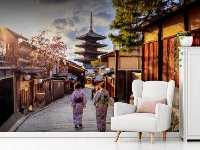Yasaka Pagoda where is the landmark of  Kyoto, Japan.