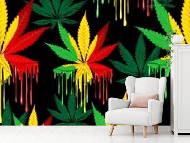 Marijuana Leaf Rasta Colors Dripping Paint Vector Seamless Pattern