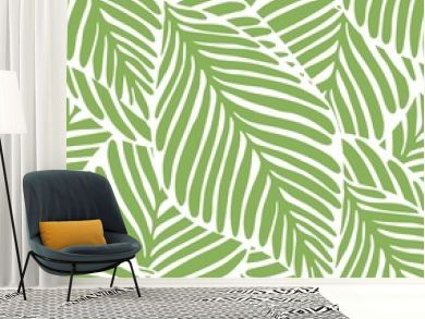 Abstract bright green leaf seamless pattern. Exotic plant.