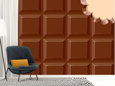 Chocolate Sweet Bar with a bite out of the corner Vector illustration