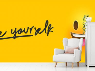 Wink 3d smiley face with be yourself text quote