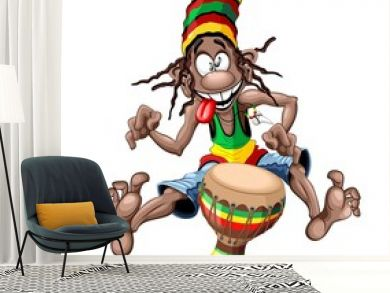 Rasta Bongo Musician funny cool cartoon character vector illustration