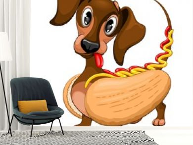 Dachshund Hot Dog Cute and Funny Cartoon Character Vector Illustration