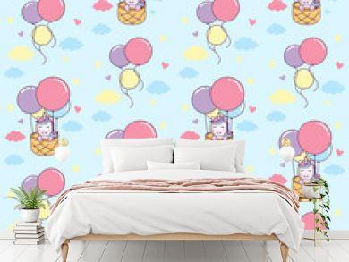 Unicorn ride basket with Air Balloon seamless pattern Illustration