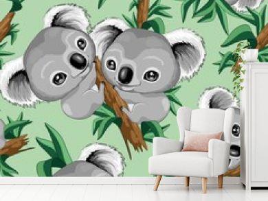 Koala Cute Baby Seamless Repeat Vector Pattern