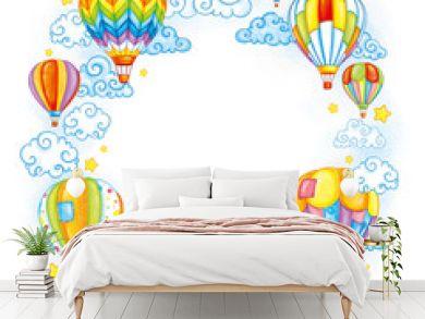 Hot-air ballon in flight