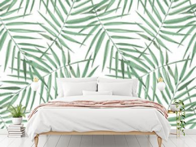 Seamless pattern of exotic palm trees. Watercolor Green leaves on white background. Tropical leaf.