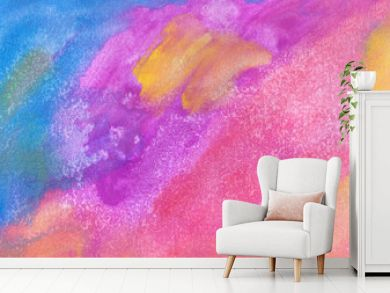 Abstract hand-made pattern, multi-colored background, imitation of oil or watercolor painting, fantastic landscape