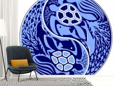 Yin Yang Marine Life Sign Classic Blue Monochrome Vector illustration