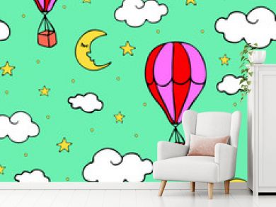 Seamless vector pattern with air balloons on light blue background. Repeat wallpaper design with hot balloons in sky.