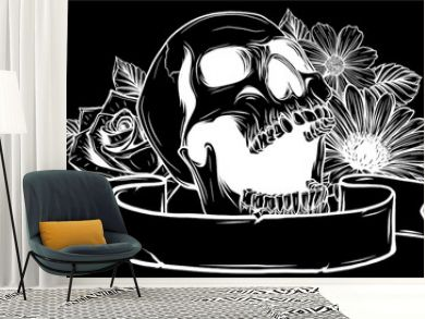 Skull and Flowers in black background, Vector illustration