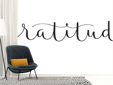 GRATITUDE vector black brush calligraphy banner with swashes