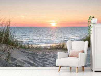 Panoramic view of a dune beach at sunset, North Sea, Germany