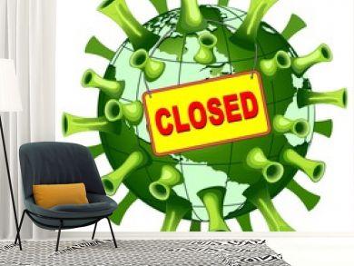 Coronavirus Covid-19 World Closed Vector Illustration isolated on white