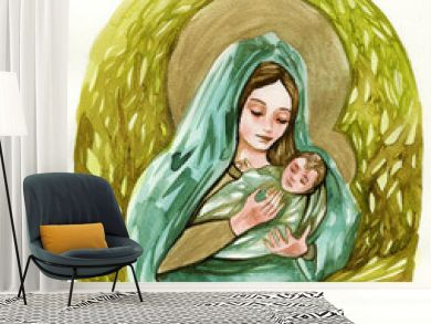 Watercolor illustration depicting the Mother of God with little Jesus.
