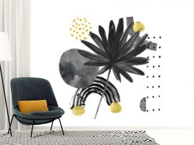 Modern exotic illustration with tropical palm leaf, grainy grunge textures, doodles, minimal elements