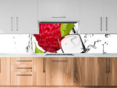 Raspberry with ice cubes, isolated on white background
