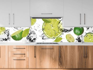 Ice fruit on white background